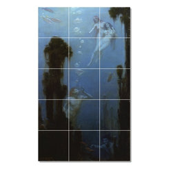 Picture-Tiles, LLC - A Deep Sea Fantasy Tile Mural By Charles Courtney Curran - * MURAL SIZE: 60x36 inch tile mural using (15) 12x12 ceramic tiles-satin finish.
