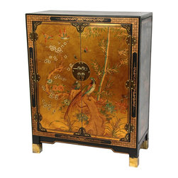 Oriental Furniture - Gold Leaf Nestling Birds Cabinet - Throughout the Far East, lacquered shoe cabinets have graced the foyers of fine homes since the Ming dynasty. The doors are decorated with antiqued gold leaf applique, then hand painted with an elegant birds and flowers design. Ornamented with brass butterfly corner fittings, round riveted hinges, and traditional oriental medallion hasp with leaf handles, they make a truly striking accent to any home.