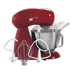 HamiltonBeach - Eclectics Stand Mixer in Carmine Red - Includes three mixing accessories of flat beater, whisk, and dough hook. Professional 2-way rotating mixing action with mixing head orbiting around the bowl as beater rotates in the opposite direction. Stainless steel 4.5-quart locking bowl with handle. 12 settings offer mixing flexibility and precise control at every speed. Quick-release tilt-up head. Pouring shield provides easier addition of ingredients and splatter-free mixing. Total wattage: 900 W. Warranty: Three years. Made from all metalThe Eclectics Stand Mixer in Sterling fuses all-metal durability with mixing expertise that everyone respects and is individually hand-finished and topped with a smudge-free coating. Designed for tough mixing, it can handle even the thickest cookie or bread dough. This powerful appliance offers excellent mixing performance and precise control at every speed.