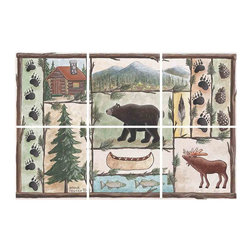 IdeaStix - Cabin Fever DJ 6-Piece Mural IdeaStix Peel and Stick - IdeaStix Mural transforms an ordinary tiles and such into beautiful art decorations.  Made from proprietary rubber-resin, 6-Piece Mural Premium Peel and Stick Tile Decor is sized for 4.5 x 4.5 inch tiles and offers a quick and easy solution of having a great Tile Mural in kitchen or bath/shower.  With water/heat/steam-resistant, nontoxic, washable, removable and reusable features, it is ideal for kitchen backsplash and bath/shower tile cecoration and suitable for smooth and non-porous tile surfaces in hot, wet and humid areas.  Surface can be washed with most household cleaning products.