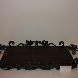 """Decorative serving trays - Decorative serving tray, approx 34"""" overall including the ornamental unique handle design, the tray area is approx  22"""" x 13"""" wide, the wood top, cut out of solid hardwood (Poplar) is stained  in a Walnut  finish and sealed with multiple coats of polyurethane to guarantte a long lasting finish....the iron work is in an antique gold....a great statement on a dining room table, buffet, or coffee table."""