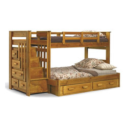 Chelsea Home - Twin Over Full Bunk Bed - NOTE: ivgStores DOES NOT offer assembly on loft beds or bunk beds.. Includes stairway chest and underbed storage drawers. Mattresses not included. Hand stain finished with three steps process to compliment the natural wood grain. Rustic style. Rails will connect to the bed ends by a 3.5 inch lag bolt for strength. Meet and exceed all of the following rules: ASTM F-1427-07, CFR 1213, CFR1513 and lead testing. Constructed for strength and durability. Warranty: One year. Made from solid plantation-grown pine wood. Honey finish. Made in USA. Assembly required. 100 in. L x 56 in. W x 62 in. H (357 lbs.). Bunk Bed Warning. Please read before purchase.Warning: Falling hazard, bunk beds should be used by children 6 years of age and older!