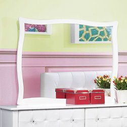 Homelegance - Homelegance Sparkle Rectangular Mirror in White - The glamour girl in your life will swoon when she opens her bedroom door to the Sparkle Collection. Fashion forward and scaled to fit her needs  this trendy bedroom will make her the envy of all of her friends. White bi-cast vinyl is featured not only on the tufted headboard  but on the drawer fronts of each case piece and coordinating vanity and storage stools. Clear hardware is faceted for maximum sparkle and punctuates each drawer front. Matching vanity features a hidden mirror within the lift top storage area.
