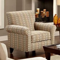 Chelsea Home Camden Accent Chair - Frazzle Twilight - Soft pastels and a light tan color make this contemporary Chelsea Home Camden Accent Chair - Frazzle Twilight a subtle yet stylish addition to any living room, bedroom or dorm. The chair's solid hardwood construction sets the frame for the chair's removable and reversible seat cushion, which was constructed to be soft and sturdy from 1.8 density foam. Ideal for relaxing to take in a good book or converse with a friend sitting on an adjacent couch, the chair features a Dacron wrap that prevents sliding when you reach for coffee or the remote or decide to eschew the laptop for a new magazine. The chair also comes with tapered wooden legs that add stability and measures a spacious 37 inches wide and 32 inches deep.About Chelsea Home FurnitureProviding home elegance in upholstery products such as recliners, stationary upholstery, leather, and accent furniture including chairs, chaises, and benches is the most important part of Chelsea Home Furniture's operations. Bringing high quality, classic and traditional designs that remain fresh for generations to customers' homes is no burden, but a love for hospitality and home beauty. The majority of Chelsea Home Furniture's products are made in the USA, while all are sought after throughout the industry and will remain a staple in home furnishings.