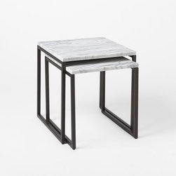 Box Frame Nesting Tables, Marble, Set of 2 - I've always wanted a set of nesting tables, and these are stunning. The marble tops really make them.