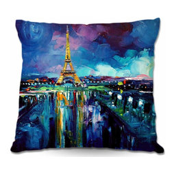 DiaNoche Designs - Pillow Woven Poplin from DiaNoche Designs - Parisian Night Eiffel Tower - Toss this decorative pillow on any bed, sofa or chair, and add personality to your chic and stylish decor. Lay your head against your new art and relax! Made of woven Poly-Poplin.  Includes a cushy supportive pillow insert, zipped inside. Dye Sublimation printing adheres the ink to the material for long life and durability. Double Sided Print, Machine Washable, Product may vary slightly from image.