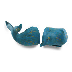 Zeckos - Blue Distressed Finish Whale Top and Tail Bookends Set of 2 - This set of blue whale bookends rise from the deep to swim with your favorite written works This two piece set features the top and tail half of a whale perfect for any desk, table, shelf or counter-top in your home or office. With hand-painted distressed finish, the top half measures 4.5 inches long, 3.5 inches high and 4.25 inches wide (11 X 9 X 11 cm) while the tail is 5.75 inches long, 5 inches high and 3.25 inches wide (15 X 13 X 8 cm). This set makes a great gift for any sea life enthusiast or whale watcher sure to be enjoyed.