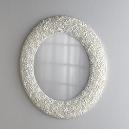 Horchow - Clamrose Shell Mirror - Made from clamrose shells, this round mirror is understated yet still so interesting and textural.