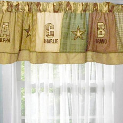 Pem America - Pem America Alpha Bravo Charlie Valance - VC3968-4100 - Shop for Window Treatments from Hayneedle.com! The perfect bedding for your little soldier the Pem America Alpha Bravo Charlie Bedding Set features classic commando colors with a pattern of helicopters helmets tanks and stars. Soft and cozy the face cloth is crafted from 100% cotton and is filled with 100% hypoallergenic fill. Available in your choice of size this quilt is machine washable. About Pem America Makers of high quality handcrafted textiles Pem America Outlet specializes in bedding that enhances your comfort and emphasizes the importance of a good night's rest. Comforters quilts pillows and other items for the bedroom are made with care and craftsmanship by Pem America. Their products cover a wide range of materials styles colors and designs all made with long-lasting quality construction and soft long-wearing materials. Details like fine stitching embroidery and crochet decorations and reinforced seaming make Pem America bedding comfortable and just right for you and your family.