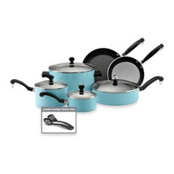 Farberware - Farberware Classic Aluminum 12-Piece Cookware Set in Turquoise - This eye-catching 10-piece set is one of the most economical and stylish ways to equip your kitchen with high quality cookware.