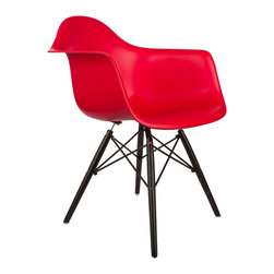 """Noir Arm Chair in Red - Some designs were ahead of their time. Considered the chair of tomorrow both for its smooth, modern design and for the innovative design process in which it was first manufactured in a single mold, one of the most iconic mid-century furniture designs was the inspiration for the Noir Arm Chair. Created in the spirit of economy and affordability, its unique shape was designed to spread the sitter's weight and pressure evenly. The deep seat and waterfall edge provide additional comfort as the design shapes itself around the body's curves, while its rich noir-toned wood and steel base adds classic style and stability. If you've done away with formality in your home, the Noir Arm Chair is that one piece of furniture that exemplifies the """"less is more"""" ethos. It's the ultimate versatile seat, perfect as a home office chair, as an entryway slipper seat, or as the central statement piece for the living room."""