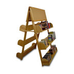 Catskill Craftsmen - A-Frame w 2 Cork Boards & 6 Adjustable Shelve - Ideal for bookstores, schools or libraries, this durable hardwood bookshelf will be an stylish and functional addition to any display. It features an A-frame shape for stability and is highlighted by two corkboard tops for notes, signage and more. Tilted shelves are adjustable to accommodate larger books. Made of US hardwood veneer. 8 in. Deep, tilted shelves allow for spine-out or full cover display. 2 Cork boards allow for display of standard 8.5 in. x 11 in. sheets. A-Frame unit can support up to 10 adjustable shelves. Additional shelves available. Made in the USA. 25 in. L x 42 in. W x 60 in. H (120 lbs.). Shelf: 42 in. L x 8 in. W x 8 in. HConstructed from solid hardwood and hardwood veneer, this display rack is rugged enough to display books, DVDs, CDs and video cassettes.