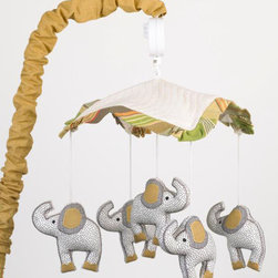 Cotton Tale Designs - Elephant Brigade Mobile - A quality baby bedding set is essential in making your nursery warm and inviting. All Cotton Tale patterns are made using quality materials and are uniquely designed to create your perfect nursery. Part of the Elephant Brigade collection is the wonderful, happy, elephant Mobile. It has 5 baby elephants spinning around a quilted canopy with stripe trim. Music is Brahms Lullaby. Mobiles should be removed from the crib when child begins to pull up or approximately 5 to 6 months of age.