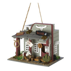 KOOLEKOO - Wild Horse Saloon Birdhouse - After a hard day on the range, any rough-riding bird will be glad to belly up to this Wild West saloon! Witty vintage-style accents add authentic cowboy flair to this decorative wood birdhouse.