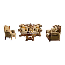 Homey Designs - Grand European Design Gold Fabric Upholstered Living Room Sofa Set - Looking for a grand European style living room sofa set, then the HD 369 is exactly what you are looking for. This Victorian gold fabric upholstered sofa set is elegance and prestige combined all in one. The decorative hand carved wood trims brings out the richness of this classical set. The HD 369 also comes with many decorative pillows to accent this living room set.