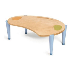 "Iglooplay - Lima Table - A table should reflect the way children actually sit… on the floor! The Lima Table from Iglooplay is bold and bright, combining pure aesthetics with your child's comfort. The table accommodates children's legs in straight, kneeling, or crossed-legged positions. The ergonomic shape also encourages independence with a sense of place, making the Lima just right for eating, drawing, painting, and writing alone or with a group of friends. Available with optional floor cushions. Features: -Baltic birch ply construction with clear finish. -Aluminum plates and steel screws. -Painted mango and lime coasters. -Painted blue hard wood legs. -Green design: All wood obtained from sustained yield forestry practice. -High durability for contract use. -Meets or exceeds the ASTM and Consumer Product Safety Commission standards for child safety. -Small Dimensions: 9.5"" H x 27.25"" W x 18.25"" D. -Large Dimensions: 11.25"" H x 41"" W x 25"" D. -For ages 1 and up. Optional CushionFeatures: -Foam fill. -Zippered microsuede cover. -Spot cleans easily with brush, mild soap, and water. -Machine washable and dryable. -Strong enough to withstand lots of kids' play!."