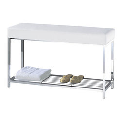 Harmony - Harmony Bench with Shelf - Get a German gestalt for your powder room and bring some harmony to your home spa ... aka bathroom ... with this ritzy bench. Store towels, slippers or other bathroom essentials on the lower chrome shelf and give yourself a comfortable seat with a cushion made of white or black artificial leather.