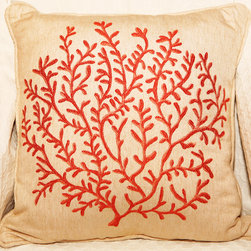 Decorative Pillows - Decorative pillow with embroidered coral design in both size will add a soft and unique touch to your house. This is made from Robert Allen Designer Collection fabric ($200/yard).