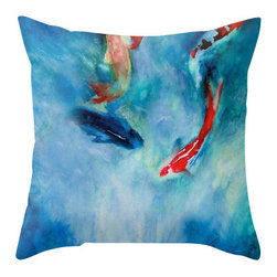 Brazen Design Studio - Decorative Pillow Cover - Koi Pond Painting - Throw Pillow Cushion, 18x18 - Liven up your space with a fine art pillow cover featuring my original artwork! This listing is for one pillow cover featuring my vibrant watercolor painting, on 100% spun designer polyester poplin fabric, a stylish statement to brighten up any room.