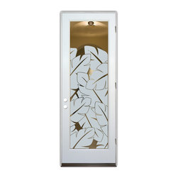Sans Soucie Art Glass (door frame material Plastpro) - Glass Front Entry Door Sans Soucie Art Glass Banana Leaves - Sans Soucie Art Glass Front Door with Sandblast Etched Glass Design. Get the privacy you need without blocking light, thru beautiful works of etched glass art by Sans Soucie! This glass is semi-private. Door material will be unfinished, ready for paint or stain.Bronze Sill, Sweep.Satin Nickel Hinges. Available in other finishes, sizes, swing directions and door materials.Dual Pane Tempered Safety Glass.Cleaning is the same as regular clear glass. Use glass cleaner and a soft cloth.