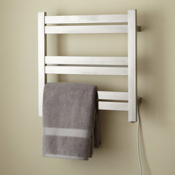 """20"""" Brenton Plug-In Towel Warmer - Strikingly modern, the 20"""" Brenton Towel Warmer makes towels wonderfully cozy after a shower or bath. Crafted of stainless steel."""