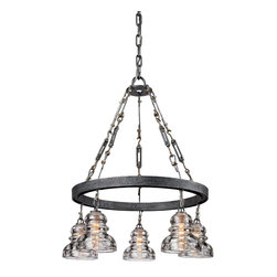 Troy Lighting - Old Silver Menlo Park 5 Light Chandelier with Glass Insulator Shades - A unique industrial look is achieved with the use of glass insulators as shades and tension bars in the support cables.