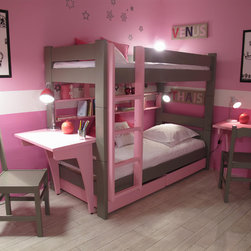 Kids Handmade Bunk Bed Bunkbed with Drawers and Desk Pink - $350 shipping cost to USA. We deliver globally. Please contact us for an overseas shipping quote. Email us at customerservice@cuckooland.com or call +44 (0) 1305 755 621.