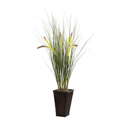 "Nearly Natural - Grass with Cattails Silk Plant - Includes bamboo planter. Perfect for home or office. Made from silk. Green color. Planter: 5.5 in. W x 5.5 in. D x 8.75 in. H. Overall: 16 in. L x 16 in. W x 33 in. HWith this piece you have that perfect ""unspoiled meadow"" look. We love it when grass grows tall. Throw in a few ""cattails"", and you have that perfect ""unspoiled meadow"" look. That's exactly what this piece personifies - the splendor of long, windswept grass, accented by fluffy cattails ready to dance in the breeze. Wrapping this piece up is a beautiful bamboo planter that is a sight on its own. Ideal for both home or office, this lovely piece makes a great gift as well."