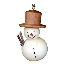 Alexander Taron - Alexander Taron Christian Ulbricht Ornament - Snowman - 1.75H x 1W x 1D-10-0812 - Christian Ulbricht hanging ornament - snowman in stained wood finish - made in Germany