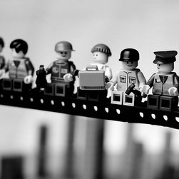 """Lunch Atop a Skyscraper"" Mounted Print by Mike Stimpson - This is such a cool take on the famous 1932 photograph taken by Charles Ebbets, and you can't go wrong with LEGO decor. Do kids ever really outgrow them?"