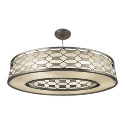 Fine Art Lamps - Allegretto Silver Pendant, 787740GU - Brighten your dining room, breakfast room or bath with this beguiling pendant light. The burnished gold-leaf or platinized silver-leaf frame is accented with brown highlights, delivering a timeless pattern that complements the textured linen shade inside.