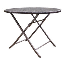 Crosley Furniture - Palm Harbor Outdoor Wicker Folding Table - UV Resistant Outdoor Resin Wicker. Durable Steel Frame. 41 in. Wide. Folds for Convenient Storage. Matches with Palm Harbor Stacking Wicker Chairs. 2 Umbrella Hole. Assembly Required. 41 in. L X 41 in. W X 29 in. H (26 lbs.)Experience the thrill of a summer getaway without leaving the comfort of your own backyard. Crosley's Palm Harbor Collection offers the utmost in outdoor entertaining. Finely crafted with intricately hand-woven wicker over a durable steel frame, this versatile folding table is sophisticated, yet perfectly practical.