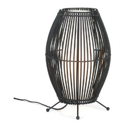 n/a - Metal Slat Convex ;Lamp - New!  Dramatic lighting will fill your room when you set this stunning lamp on your end table.  Black metal slats bend gracefully to form a stunning framework to hold a neutral shade.  Iron and bamboo.  UL recognized.  Light bulb not included.