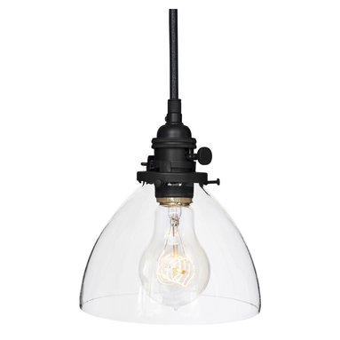 """Hammers & Heels - Hand Blown 6"""" Clear Glass Pendant Light- Matte Black - Handblown in the USA, this stunning clear glass shade pendant is the most versatile in our collections. From home kitchen to restaurant dining room this fixture is stately yet sophisticated enough to stand alone."""