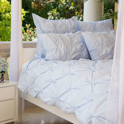 400 Thread Count Pintuck Duvet Cover, The Valencia Light Blue - Full of volume and elegance, this 400 thread count light blue pintuck duvet will add textural dimension to subtly bring your room to life.  Multiple pintucks are sewn to perfection.