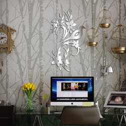 home design - Use this bird mirror sticker to add style and pizazz to your room. Stylish. sturdy, and functional, they are great for any room.
