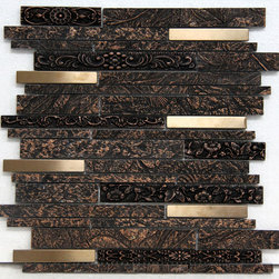 """MOSAICS - From Nexon Building Materials """"Aluminescence"""" Mosaics Line. Perfect for kitchen backsplashes and other walls. Mosaic Tile name: """"Copper"""" from the Mosaic line """"Aluminescence""""."""