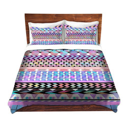 DiaNoche Designs - Duvet Cover Twill by Organic Saturation - Girly Colorful Aztec Pattern - Lightweight and soft brushed twill Duvet Cover sizes Twin, Queen, King.  SHAMS NOT INCLUDED.  This duvet is designed to wash upon arrival for maximum softness.   Each duvet starts by looming the fabric and cutting to the size ordered.  The Image is printed and your Duvet Cover is meticulously sewn together with ties in each corner and a concealed zip closure.  All in the USA!!  Poly top with a Cotton Poly underside.  Dye Sublimation printing permanently adheres the ink to the material for long life and durability. Printed top, cream colored bottom, Machine Washable, Product may vary slightly from image.
