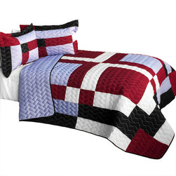 Blancho Bedding - 3 Piece Vermicelli Quilted Patchwork Quilt Set, Full/Queen, Wine Field - The Wine Field 100% TC Fabric Quilt Set,  Full/Queen Size,  includes a quilt and two quilted shams. This pretty quilt set is handmade and some quilting may be slightly curved. The pretty handmade quilt set make a stunning and warm gift for you and a loved one! For convenience, all bedding components are machine washable on cold in the gentle cycle and can be dried on low heat and will last for years. Intricate vermicelli quilting provides a rich surface texture. This vermicelli-quilted quilt set will refresh your bedroom decor instantly, create a cozy and inviting atmosphere and is sure to transform the look of your bedroom or guest room.,  Dimensions: Full/Queen quilt: 90.5 inches x 90.5 inches; Standard sham: 24 inches x 33.8 inches,