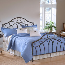Hillsdale - Josephine Bed Set - Graceful scrolls,spindles and arches repeat in the metal headboard and footboard of the Josephine bed,bringing traditional charm and cohesive style to your interior design. The set comes with hardware to facilitate assembly.