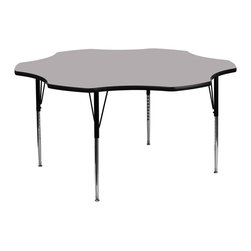 Flash Furniture - Flash Furniture 60 Inch Flower Shaped Activity Table with Grey Laminate Top - Flash furniture's XU-A60-FLR-GY-T-A-GG warp resistant thermal fused laminate flower activity table features a 1.125'' top and a thermal fused laminate work surface. This flower shaped laminate activity table provides a durable work surface that is versatile enough for everything from computers to projects or group lessons. Sturdy steel legs adjust from 21.125'' - 30.125'' high and have a brilliant chrome finish. The 1.125'' thick particle board top also incorporates a protective underside backing sheet to prevent moisture absorption and warping. T-mold edge banding provides a durable and attractive edging enhancement that is certain to withstand the rigors of any classroom environment. Glides prevent wobbling and will keep your work surface level. This model is featured in a beautiful grey finish that will enhance the beauty of any school setting. [XU-A60-FLR-GY-T-A-GG]