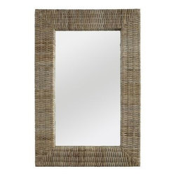 Kubu Mirror - I would hang this rectangular mirror horizontally over a crisp white dresser. The natural weave of the frame creates a warm and cozy cottage feeling.