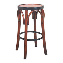 """Inviting Home - Barstool, Honey - Timeless in style and sturdy in construction many have survived ages. And this barstool will follow the same tradition when handled with love and care...; 14-3/4""""dia. x 28-3/4""""H The design of our tall brasserie accessory goes back to the late 19th century when bentwood furniture was developed in Vienna and exported across Europe and the rest of the world. Timeless in style and sturdy in construction many have survived ages. And this hand-made barstool will follow the same tradition when handled with love and care."""