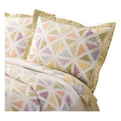 Pem America - Summer Porch Standard Sham - Summer Porch is white framed quilt with bright pastel prints. Carefully hand pieced in a detailed lattice work design Summer Porch is a quality addition to your traditional floral bedroom.  This best selling quilt also features diamond edging and an intricately stitched frame. Each piece is painstakingly pieced together in 100% cotton face cloth and filled with cotton batting for a natural feel. Face cloth is pieced, 100% cotton and measures 20x26 inches. Filled with 94% cotton / 6% other fibers for a quality heavy weight construction.  100% microfiber polyester reverse. Machine washable.