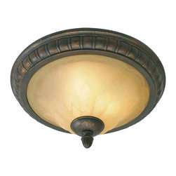 Golden Lighting - Mayfair 17 in. Flush Mount - Bulbs not included. Required three 60 watt incandescent type A medium base bulbs. Traditional style. Cream brulee glass shade. Provides widespread ambient lighting. Three E27 sockets. Electric wire gage: 3321 18# 150 degree. UL approved for damp locations. Made from metal and poly resin. Leather crackle color. Wire length: 8 in.. Glass: 12 in. Dia. x 4 in. H. Overall: 15 in. Dia. x 7.5 in. H (8.82 lbs.). Warranty. Assembly Instructions