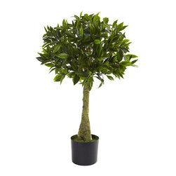 Nearly Natural - Nearly Natural 3' Bay Leaf Topiary UV Resistant (Indoor/Outdoor) - Perfect in every way, this handsome little 3 foot Bay leaf Topiary is the ideal accent piece for almost any decor - indoor or out! With an interesting trunk rising from the included pot, the 600+ leaves burst forth into a ball-like topiary. Weather and UV resistant, this tree is ideal for home or office decorating, and even looks great on a porch or patio. Makes a fine gift as well.