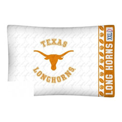 Sports Coverage - NCAA Texas Longhorns Microfiber Pillow Case - Officially licensed NCAA Texas Longhorns Microfiber coordinating pillow case to match Comforters, Pillow sham, Bedskirts and Draperies. The Pillowcase only has a white-on-white print and the officially licensed team name and logo printed in team colors. Made from 92 gsm microfiber for extra stability and soothing texture and is 100% Polyester. Wrinkle resistant and stain-resistant. Get your NCAA Pillow Case Today.   Features:  -  92 gsm Microfiber,   - 100% Polyester,    - Machine wash in cold water with light colors,    -  Use gentle cycle and no bleach,   -  Tumble-dry,   - Do not iron,   - Pillow case Standard - 21 x 30,