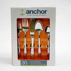 Anchor Hocking - Alyssia 20pc Flatware Set - Anchor Alyssia 20-piece Flatware Set includes 2.2mm dinner spoon, 2.2mm dinner fork, 2.0mm tea spoon, 2.0 salad fork, 70g to 75g knife.