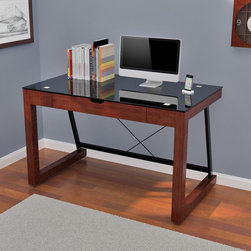 """Z-Line Designs - Jayna Computer Desk - Features: -Black tempered safety glass top.-Square chrome glass supports.-Pull-down drawer front hides keyboard.-Solid wood and real wood veneer construction.-Desk Type: Computer Desk.-Top Finish: Black.-Base Finish: Espresso.-Accent Finish: Espresso.-Powder Coated Finish: No.-Gloss Finish: No.-UV Finish: No.-Top Material: Glass.-Base Material: Wood.-Edge Detail: Banded Edge.-Non-Toxic: Yes.-Water Resistant: No.-Stain Resistant: No.-Heat Resistant: No.-Style: Contemporary.-Design: Standard Desk.-Distressed: No.-Eco-Friendly: Yes.-Cable Management: No.-Keyboard Tray: Yes.-Height Adjustable: No.-Drawers Included: Yes -Number of Drawers: 1.-Drawer Glide Material : Steel; Plastic.-Safety Stop : Yes.-Locking Drawer: No.-Core Removable Drawer Locks: No.-Ball Bearing Glides: Yes.-Joinery Type : Mortise and Tenon..-Pencil Drawer: No.-Jewelry Tray: No.-Exterior Shelving: No.-Cabinets Included: No.-Ergonomic Design: No.-Handedness: Both Left and Right.-Scratch Resistant: No.-Chair Included: No.-Legs Included: Yes -Number of Legs: 2.-Leg Glides: No..-Casters Included: No.-Hutch Included: No.-Treadmill Included: No.-Modesty Panel: No.-CPU Storage: No.-Built In Outlet: No.-Built In Surge Protector: No.-Light Included: No.-Tipping Prevention: No.-Modular: No.-Lifestage: Kids,Teen,Adult.-Application: Home Office; Professional; Industrial.-Commercial Use: Yes.-Product Care: Wipe with soft cloth.-Weight Capacity: 65.26 lbs.-Solid Wood Construction: No.-Swatch Available: Yes.-Recycled Content: No.Specifications: -FSC Certified: No.-EPP Certified: Yes.-CARB Compliant: Yes.-ISTA 3A Certified: Yes.-General Conformity Certificate: No.-Green Guard Certified: No.-ANSI BIFMA Certified: No.-SCS Certified: No.-ADA Compliant: No.-FIRA Certified: No.-GSA Approved: No.Dimensions: -Overall Height - Top to Bottom: 30"""".-Overall Width - Side to Side: 48"""".-Overall Depth - Front to Back: 24"""".-Desktop Height: 30"""".-Desktop Width - Side to Side: 48"""".-Desktop Depth -"""