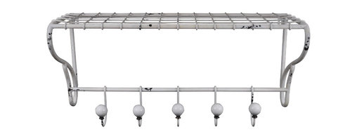 """Enchante Accessories Inc - Distressed Metal Vintage Style Wall Shelf with 5 Decorative Hooks, Shabby White - An attractive and functional wall-mounted distressed shabby chic shelf for the home. Great for adding a touch of elegance for the home entry. These shelves are built out of solid metal in an antique, distressed fashion. This means that the paint is chipped and have imperfections, so that it has an old appearance. Great for that """"worn"""" look. No assembly required."""
